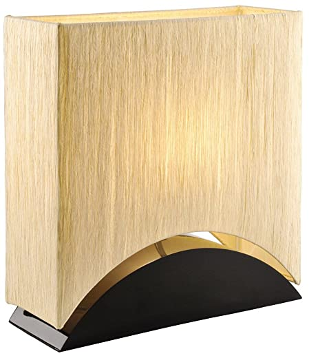Artiva USA Sakura, Modern Space-efficient Design, 17-Inch Premium Shade w Black Lacquer Wood Base Table Lamp