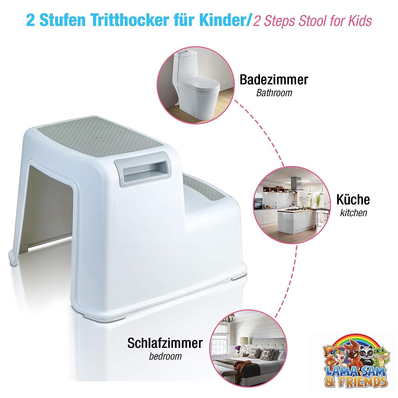 Zweistufiger Tritthocker f/ür Kinder ab ca 18 Monaten mit Anti-Rutsch-Funktion Modelljahr 2020 Wei/ß-Grau