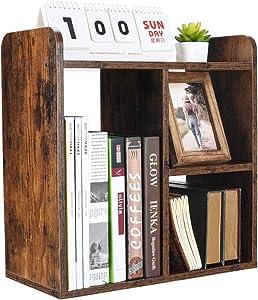 PAG Desktop Bookshelf Freestanding Countertop Bookcase Wood Desk Organizer Literature Photo Display Rack, Retro Brown