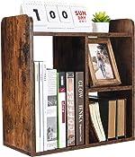 PAG Desktop Bookshelf Freestanding Countertop Bookcase Wood Desk Organizer Literature Photo