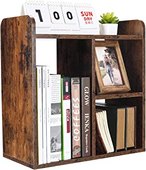 PAG Desktop Bookshelf Freestanding Countertop Bookcase Wood Desk Organizer Literature Photo Display Rack, Antique Brown