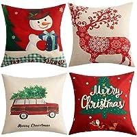 Anickal Christmas Holiday Decorations Christmas Cotton Linen 18 x 18 Pillow Covers