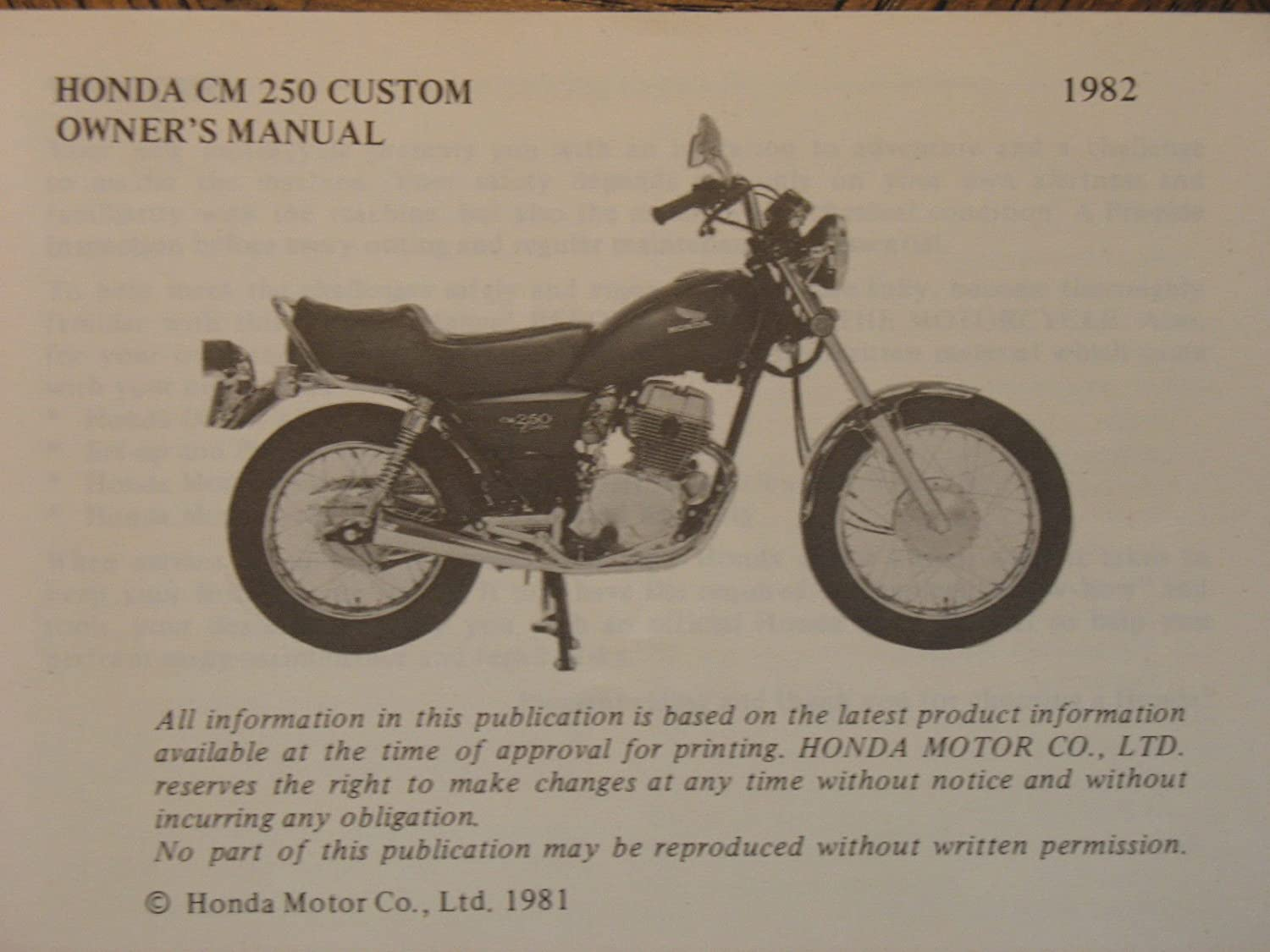 Amazon.com: HONDA CM250 C CUSTOM CM250C CM 250C 250 ORIGINAL NOS OEM OWNER'S  MANUAL: Automotive