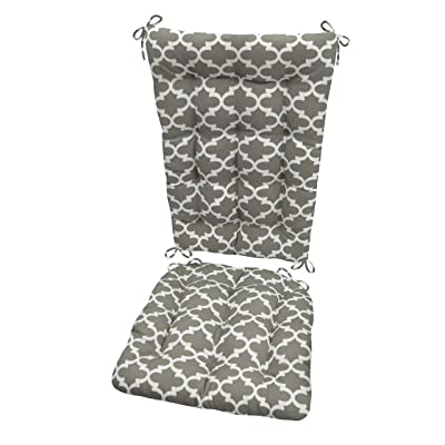 Fulton Grey Porch Rocker Cushions -Standard - Indoor/Outdoor: Fade Resistant, Weatherproof - Latex Foam Filled Rocking Chair Seat Cushion & Backrest Pad Set - Made in USA (Gray White Quatrefoil) : Garden & Outdoor