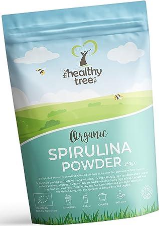 Espirulina en Polvo Orgánico de TheHealthyTree Company para Zumos y Batidos Veganos - Alta en Vitamina B12, Magnesio, Proteínas y Hierro - Espirulina ...