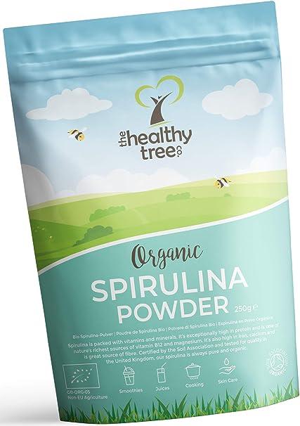 Espirulina en Polvo Orgánico de TheHealthyTree Company para Zumos y Batidos Veganos - Alta en Vitamina B12, Magnesio, Proteínas y Hierro - Espirulina Pura Certificada en el Reino Unido (250 g): Amazon.es: