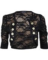 Cima Modes Womens Ladies Lace Ruched Sleeve Bolero Cardigan Military Style Shrug