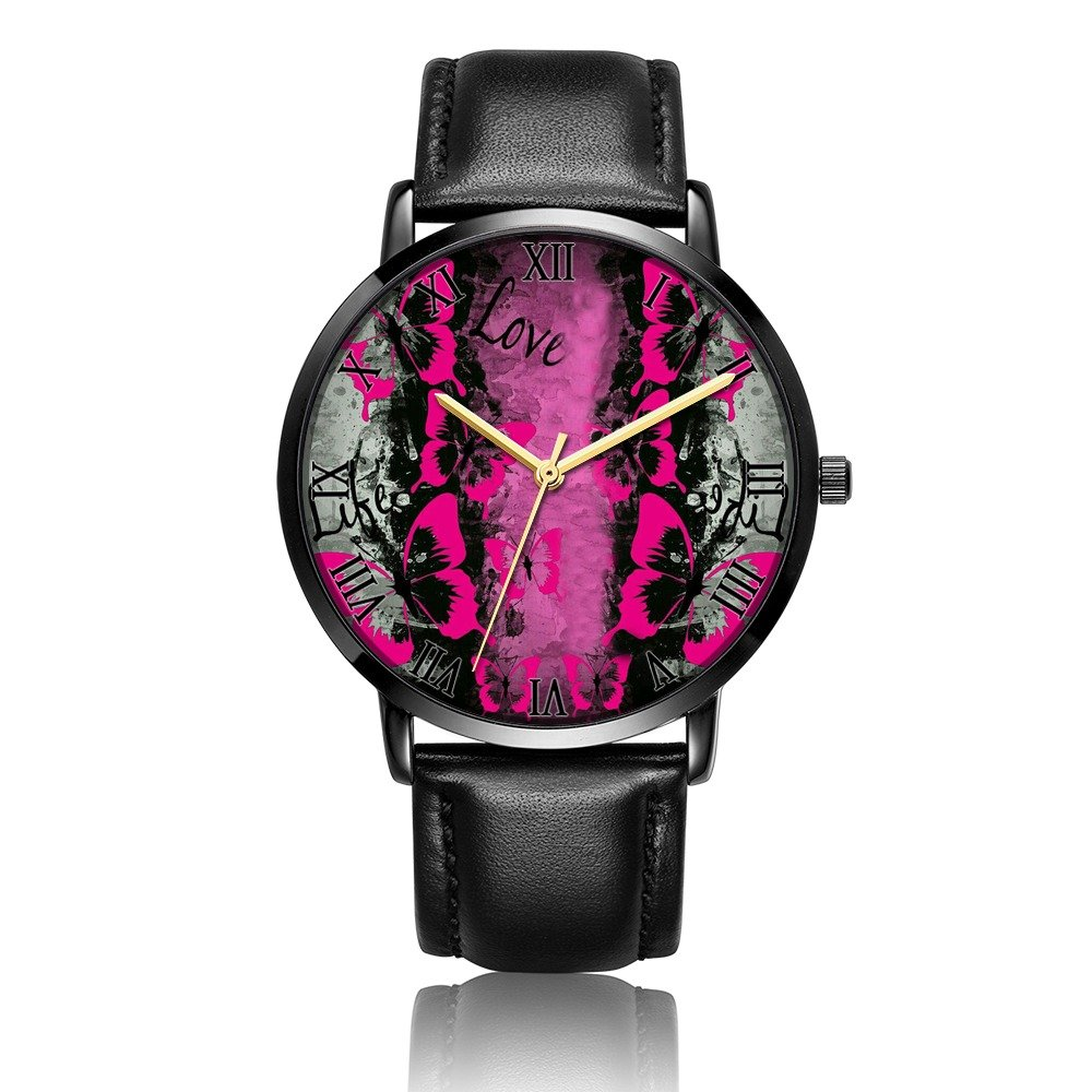 Kusa Fashion Love Butterfly Wrist Watch, Love Butterfly Pattern Design PU Leather with Stainless Steel Wrist Watch For Women and Men