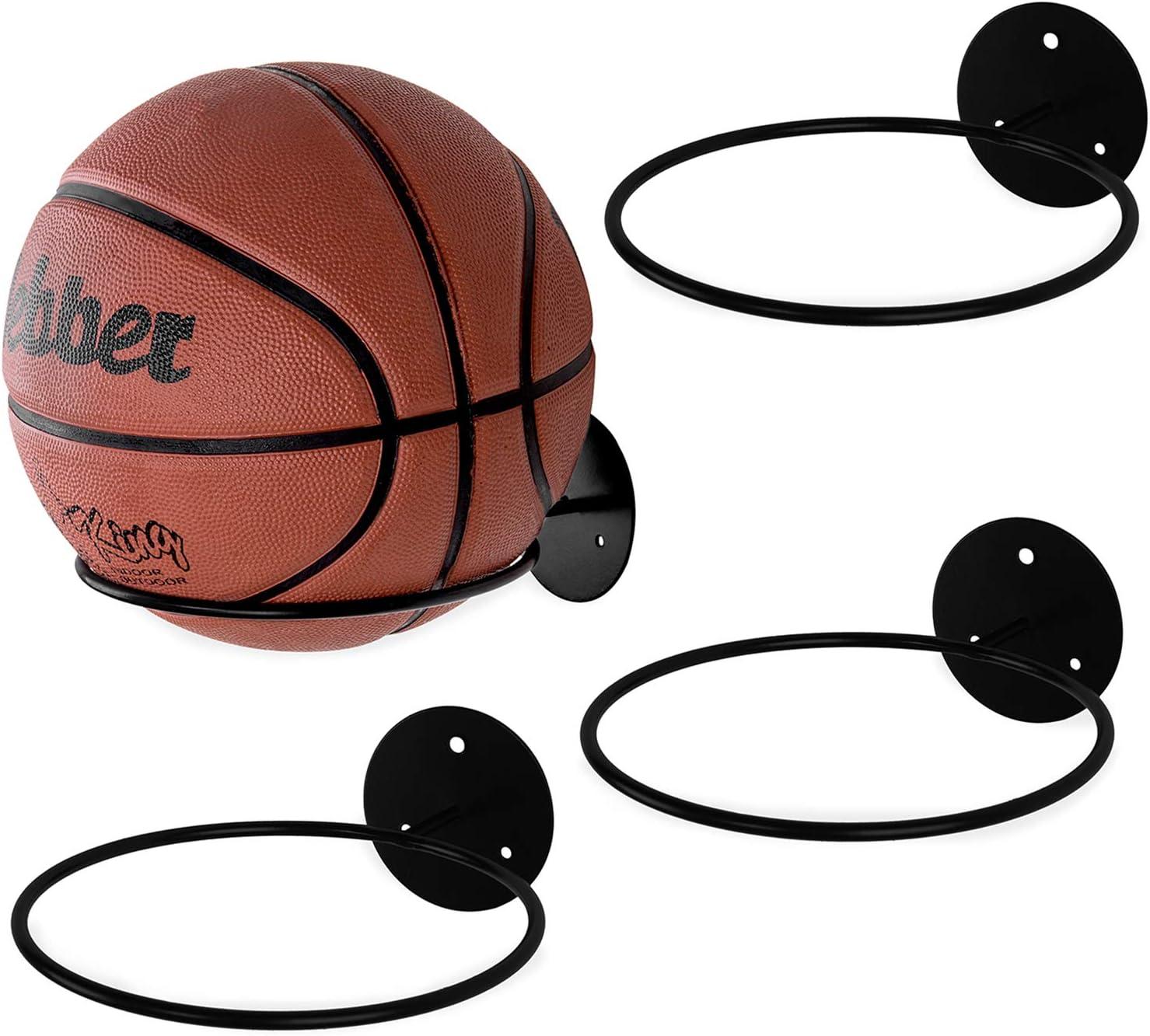 MyGift Set of 4 Black Metal Wall-Mounted Sports Ball Holder Display Rack