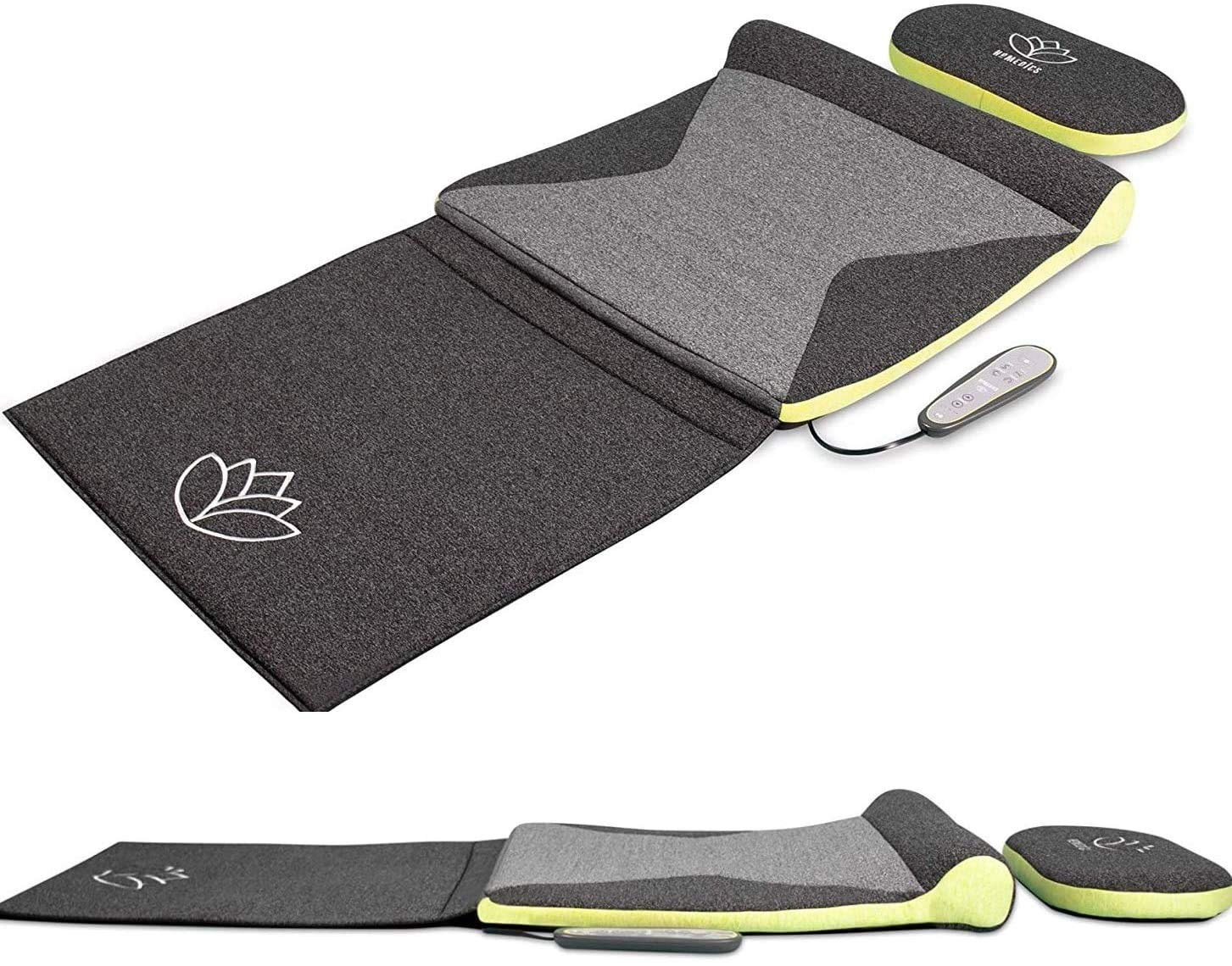 HoMedics Stretch Mat XS - Inspired by Yoga, Remote Control Adjustable Intensity, at Home Pre-Programmed Yoga/Stretch Mat for Back, Shoulder, Hip Support, Foldable Mat with Support Pillow - Grey