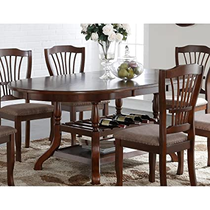 Amazoncom NCF Balboa Traditional Oval Dining Table With Leaf In - Traditional oval dining table