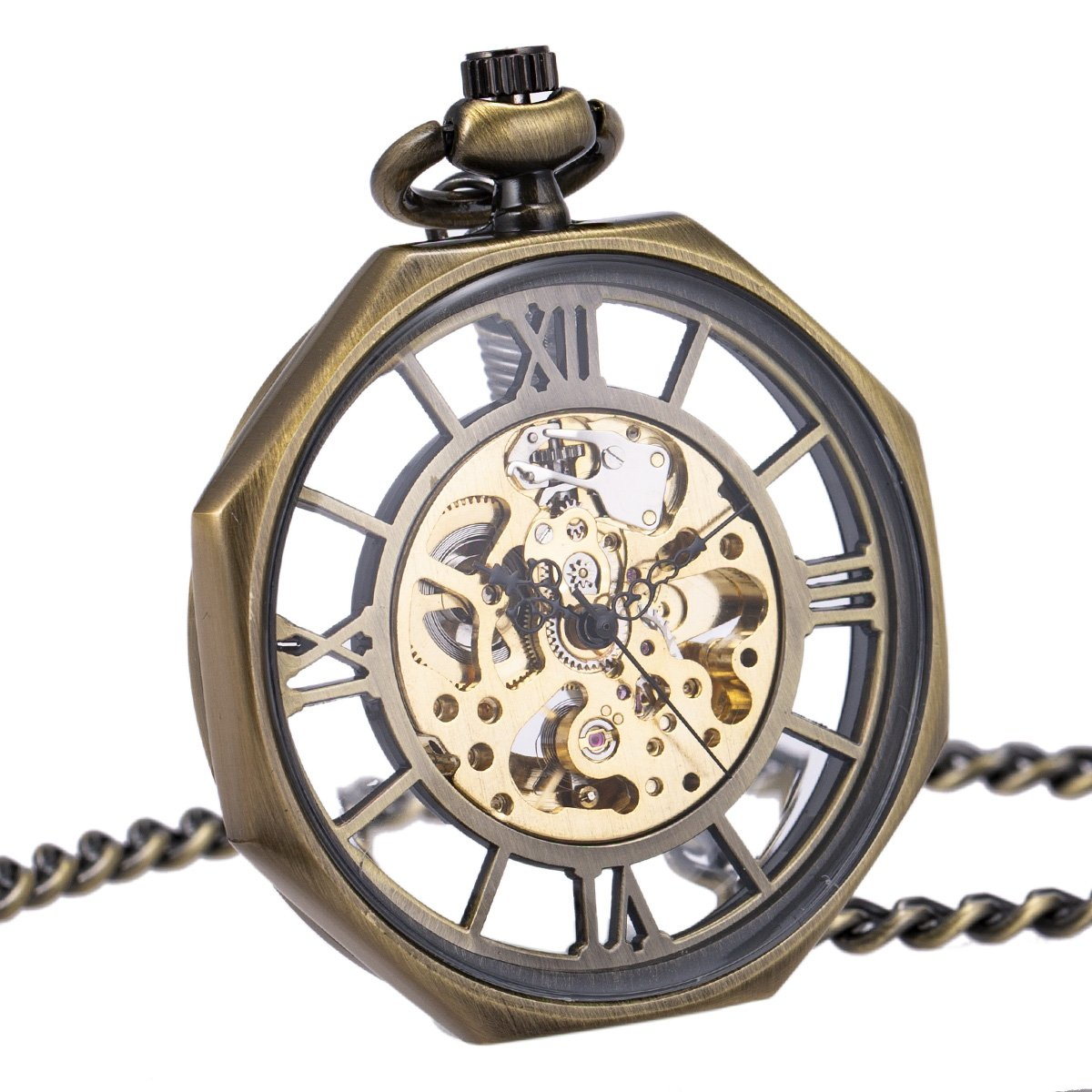 Pocket Watch Men Automatic Mechanical Open Face Octagon Antique SIBOSUN With Chain + Gift Box by SIBOSUN