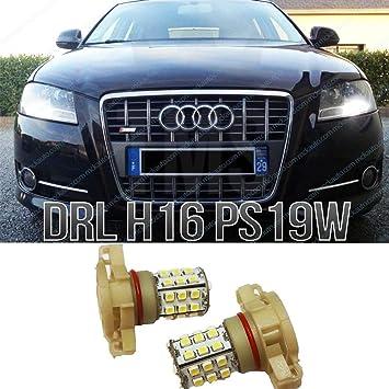 Mck Auto 2700010041 H16 39Smd 8P Led Luz Diurno Drl Sidelight Bombillas Canbus No Error Ps19 W Ea5L1, Blanco: Amazon.es: Coche y moto