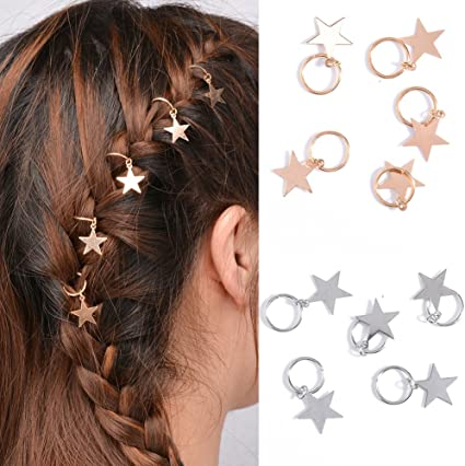 10X silver Women girls Hip-Hop Braid hoop ring  Hair Clips jewellery new