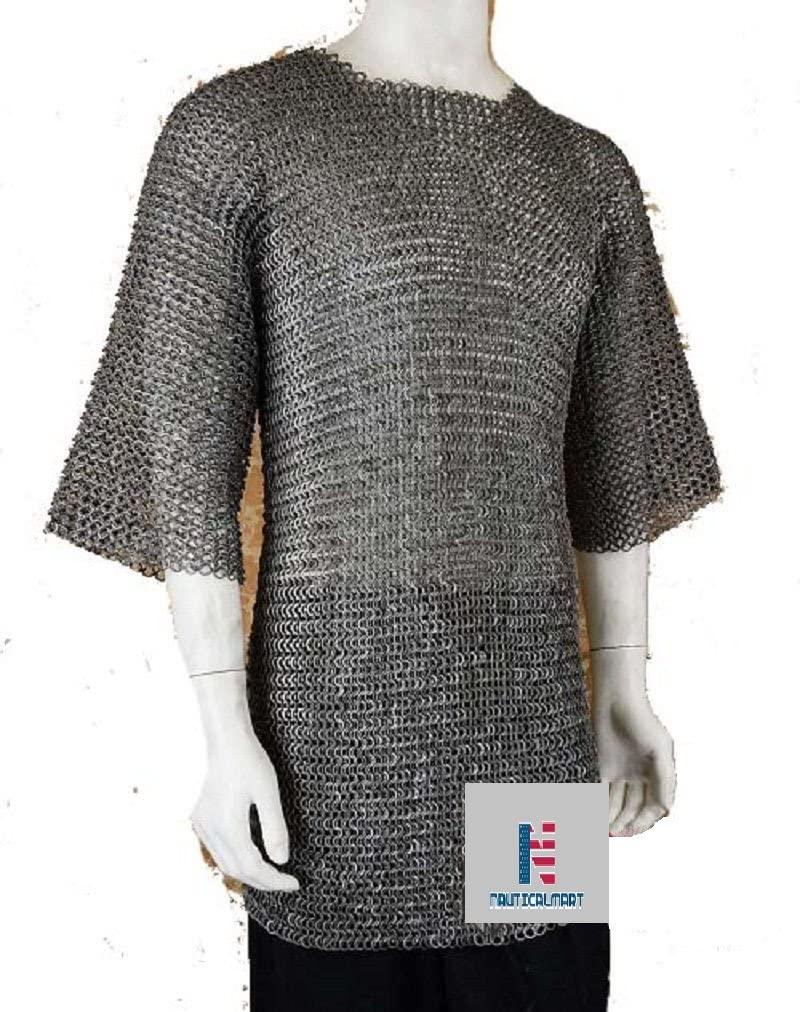 10MM  CHAINMAIL HAUBERGEON BUTTED MILD STEEL SHIRT X-LARGE SHIRT BLACKED  ARMOR
