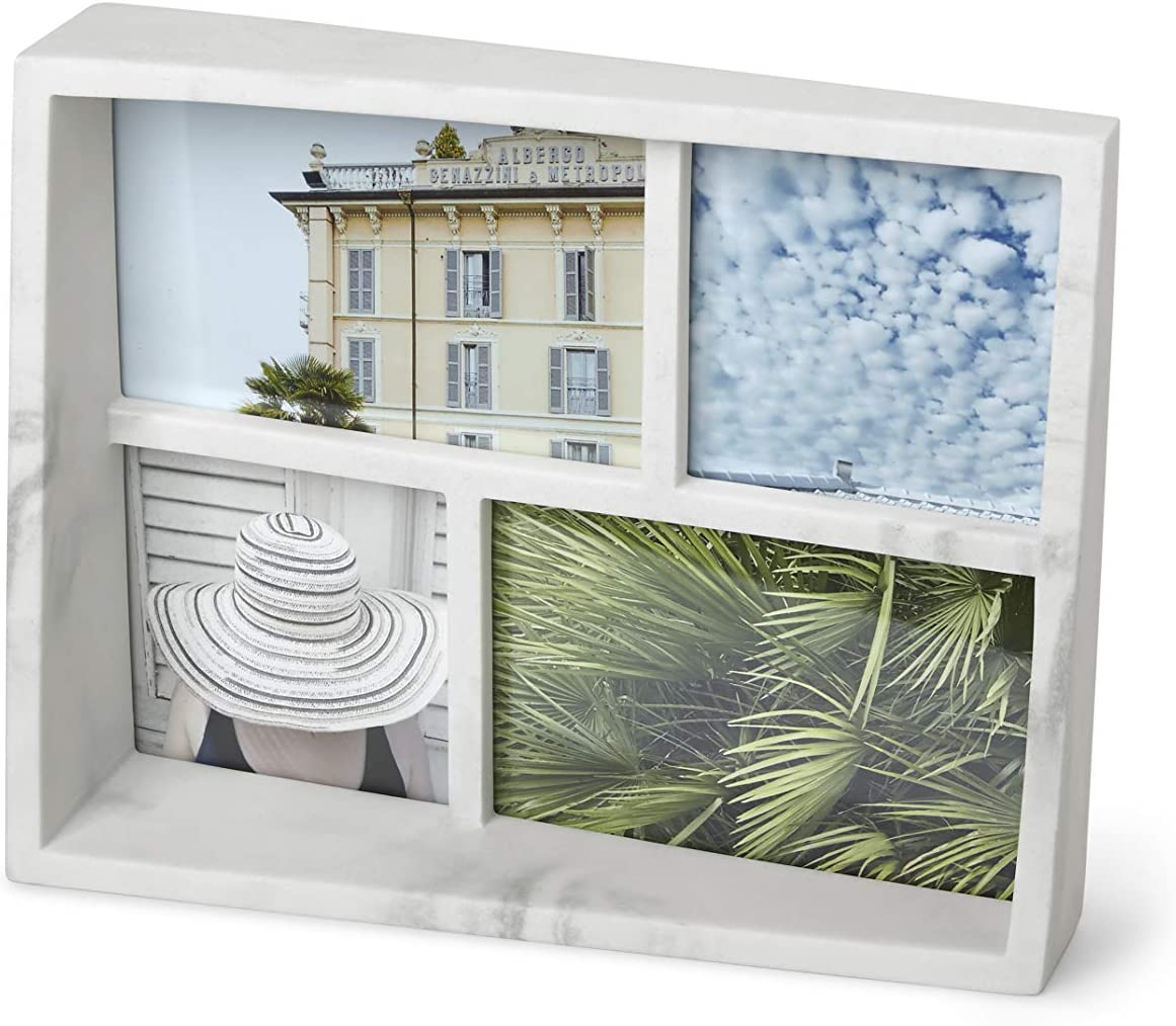 Umbra - 1013911-1125 Edge Resin Multi-Opening Picture Frame and Photo Display for Table Top or Wall, 4x6-Inch and 4x4-Inch, White Marble