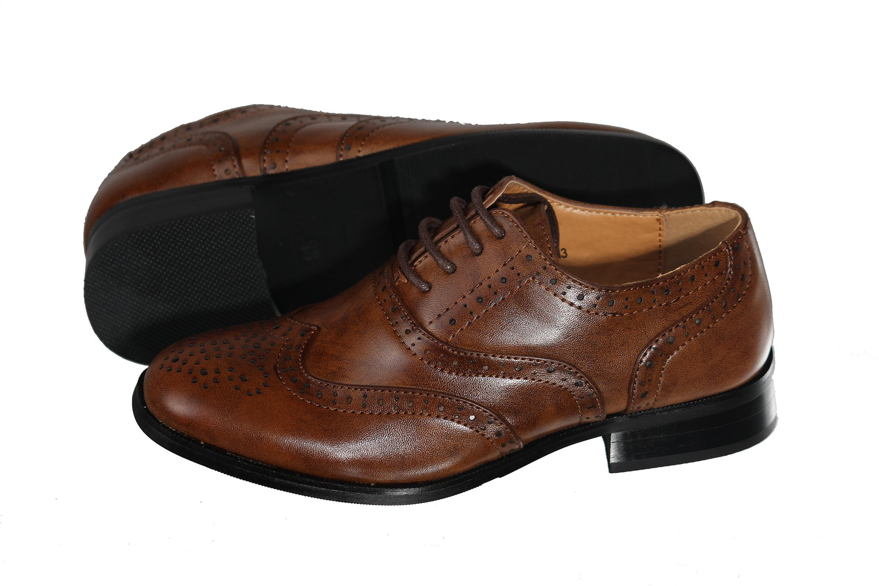 TipTop Boys Brown Oxford Pattern Lace Up Formal Dress Shoes (Little Boys 11)