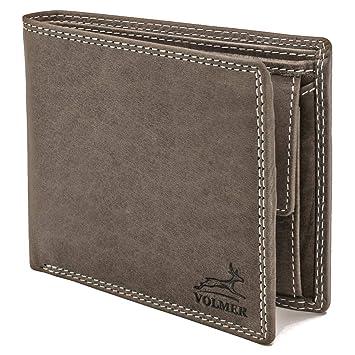 96224b9fc0ea0 Volmer ® schlanke graue Leder-Geldbörse Vintage mit RFID Schutz   EasyBuffGrey