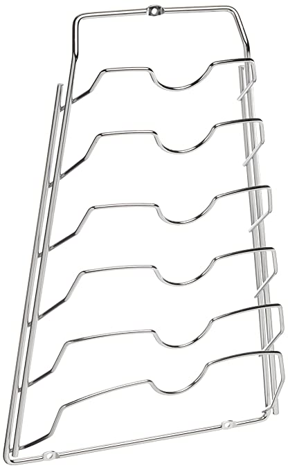 Organize It All Wall Cabinet Door Mounted Pot Lid Rack Chrome Finish