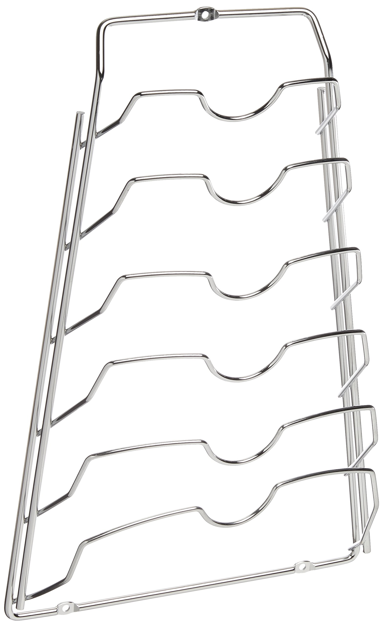 Organize It All Wall Cabinet Door Mounted Pot Lid Rack, Chrome Finish