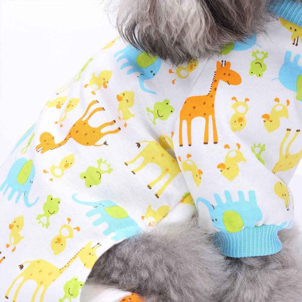 Amakunft 2-pack Dog Clothes Dogs Cats Onesie Soft Dog Pajamas Cotton Puppy Rompers Pet Jumpsuits Cozy Bodysuits for Small Dogs and Cats