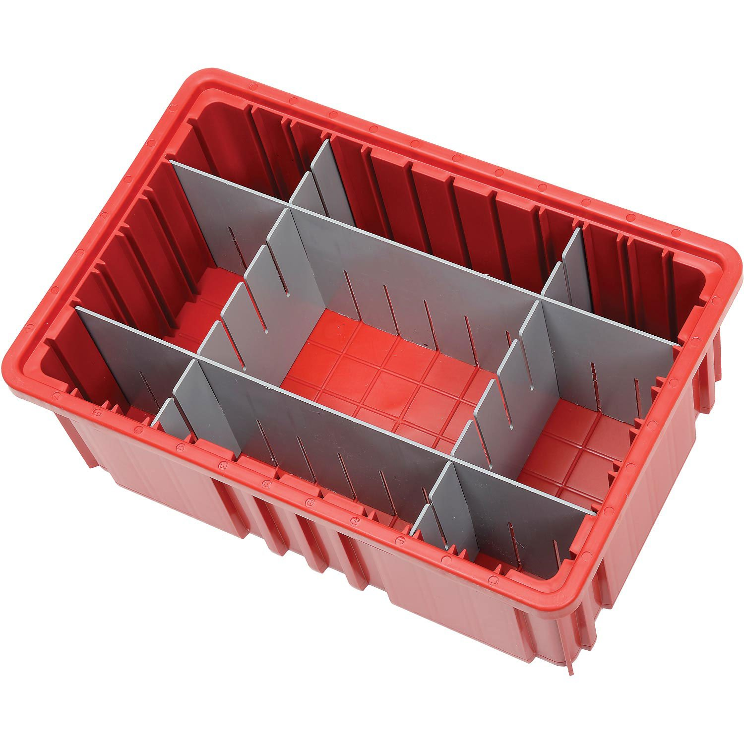 Plastic Dividable Grid Container, 16-1/2''L x 10-7/8''W x 6''H, Red - Lot of 8
