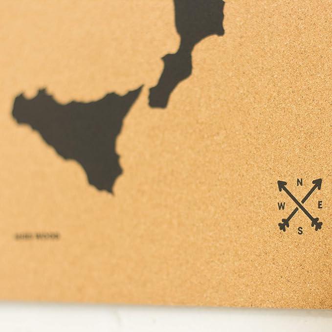 Miss Wood Mapa de Italia Estampado con Serigrafía sobre Corcho Natural, (45x60CM), Negro, L: Amazon.es: Hogar