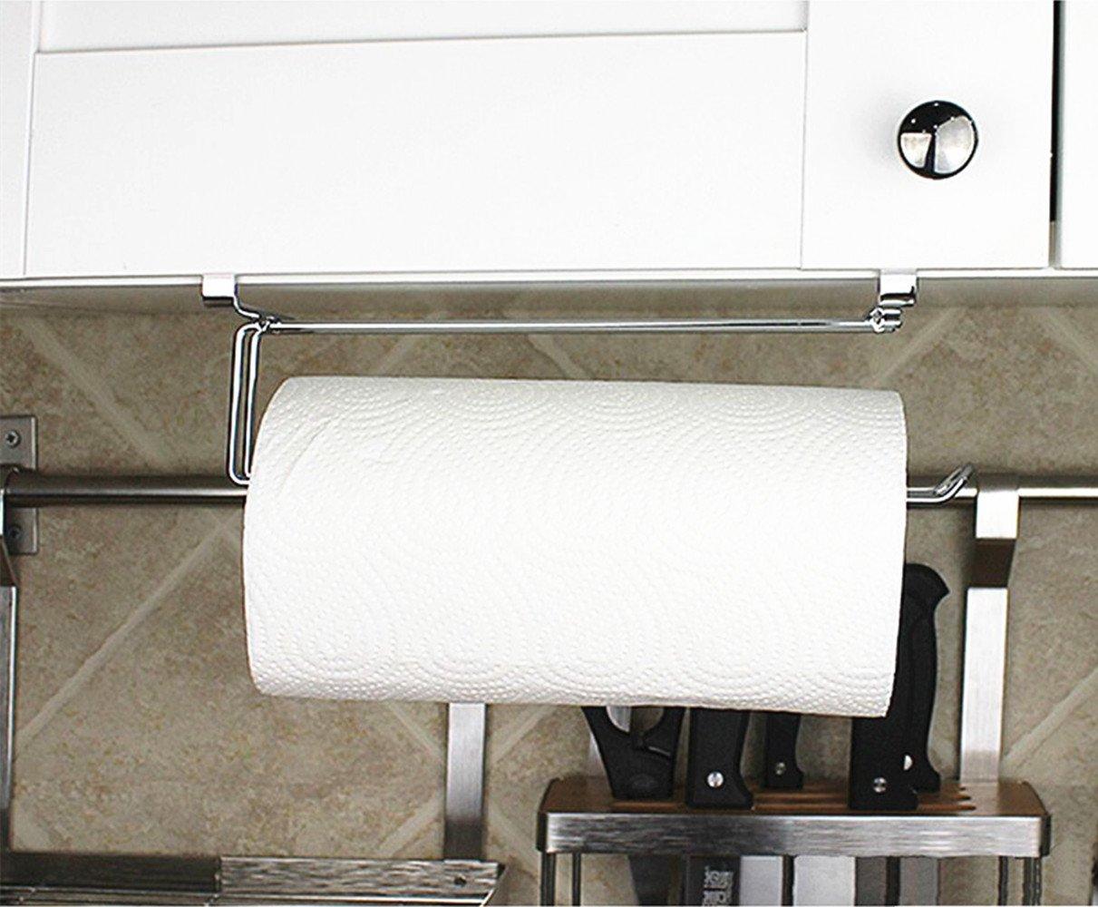 TentHome Schrankeinsatz Papierrollenhalter Rollenhalter Chrom Ohne Bohren K/üchenrollenhalter f/ür K/üche Badezimmer Metall 26 * 6.5 * 9cm
