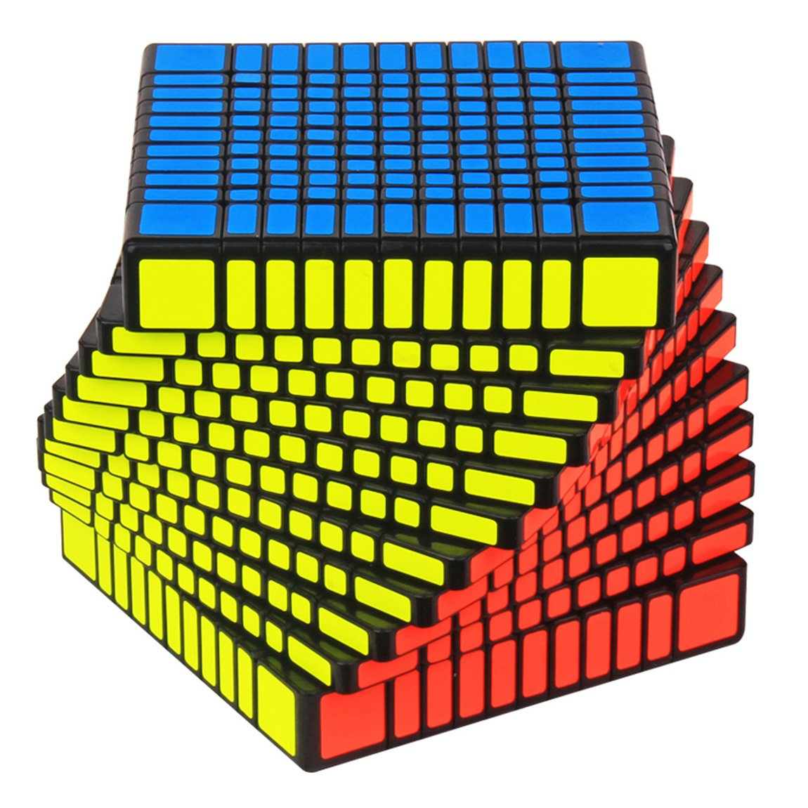 acdiac 7x7x7 to 11x11x11 Pro Speed cube stickerless Magic Cube toy Puzzles toy (11X11X11, BLACK)