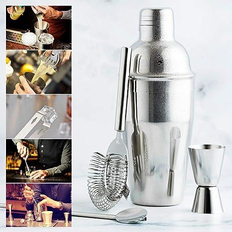 Barbieya Lot de 2 shakers en acier inoxydable et support en bambou pour cocktails 750 ml