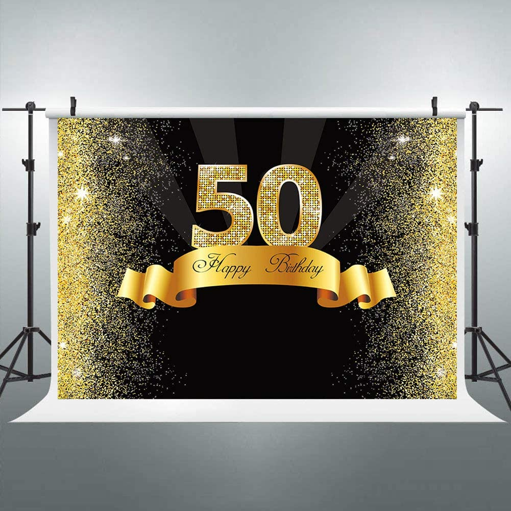 Amazon.com : Snowpa Happy 50th Birthday Backdrop Glitter Gold and Black  Golden Shiny Fifty Years Old 7x5ft Photography Background for Adult Birthday  Party Supplies Decoration Photo Booth Props : Camera & Photo