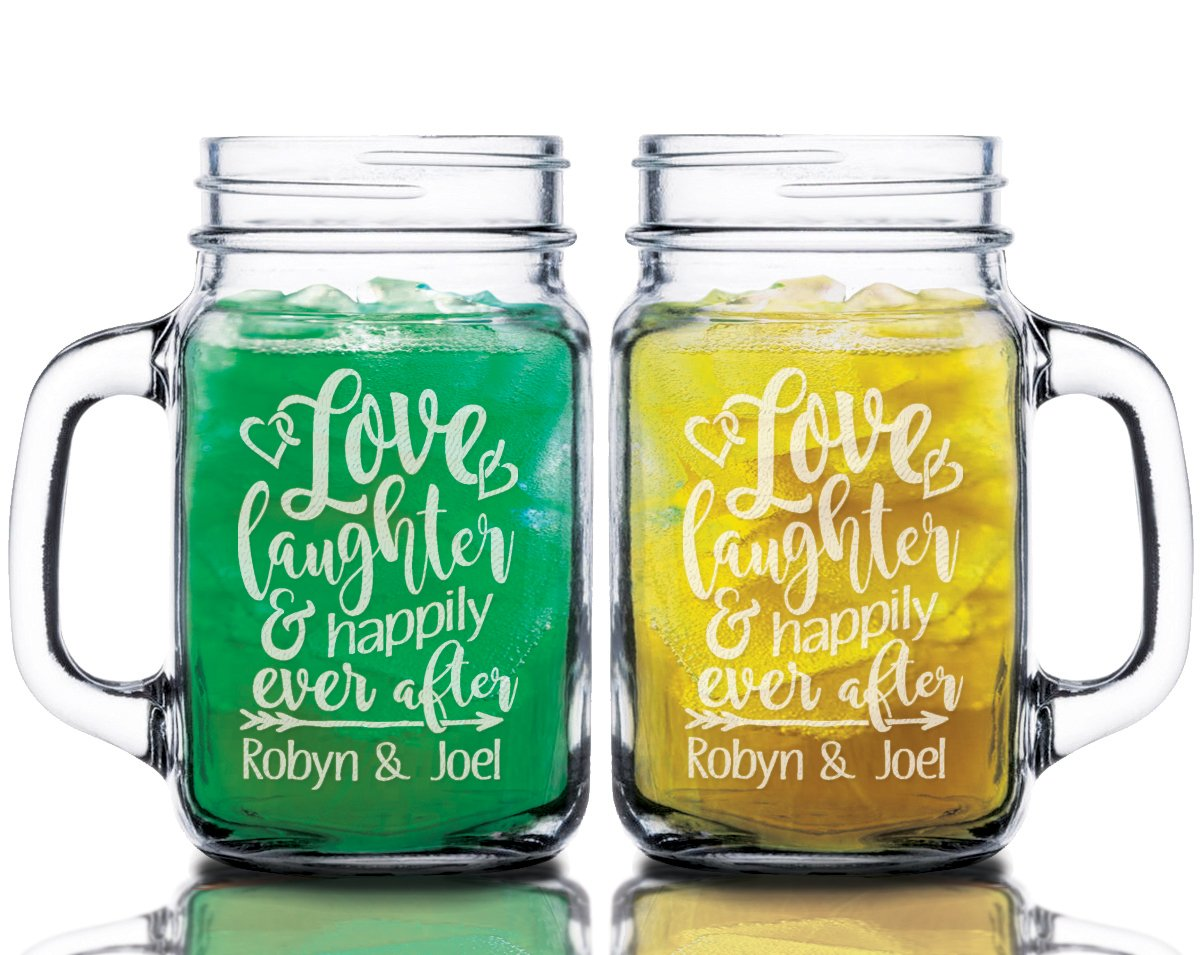 Love Laughter Happily Ever After Custom Set of 2 Custom Mason Jars Man Wife Anniversary Gift Just Married Engaged Couples Mugs Personalized Bride Groom Wedding Favor
