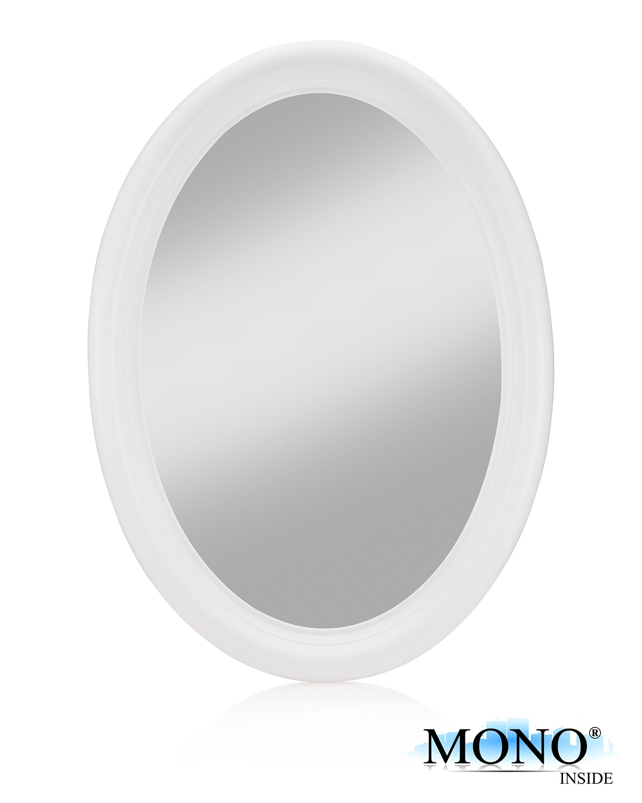 "MONOINSIDE® Small Hanging Oval Wall Mirror, Framed Decorative Oval Wall Mirror for Makeup Vanity Table, Plastic, 14"" x 10"" inches, White"