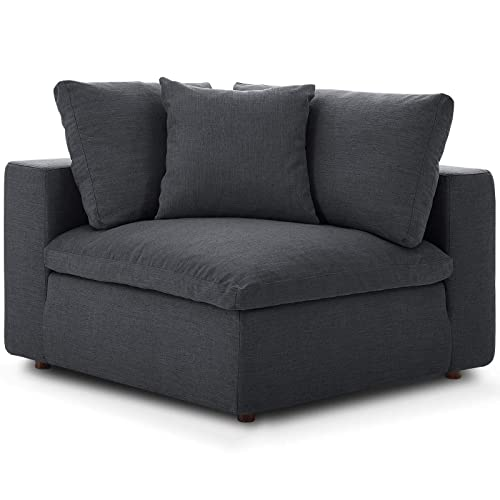 Modway Commix Down-Filled Overstuffed Upholstered Sectional Sofa Corner Chair in Gray