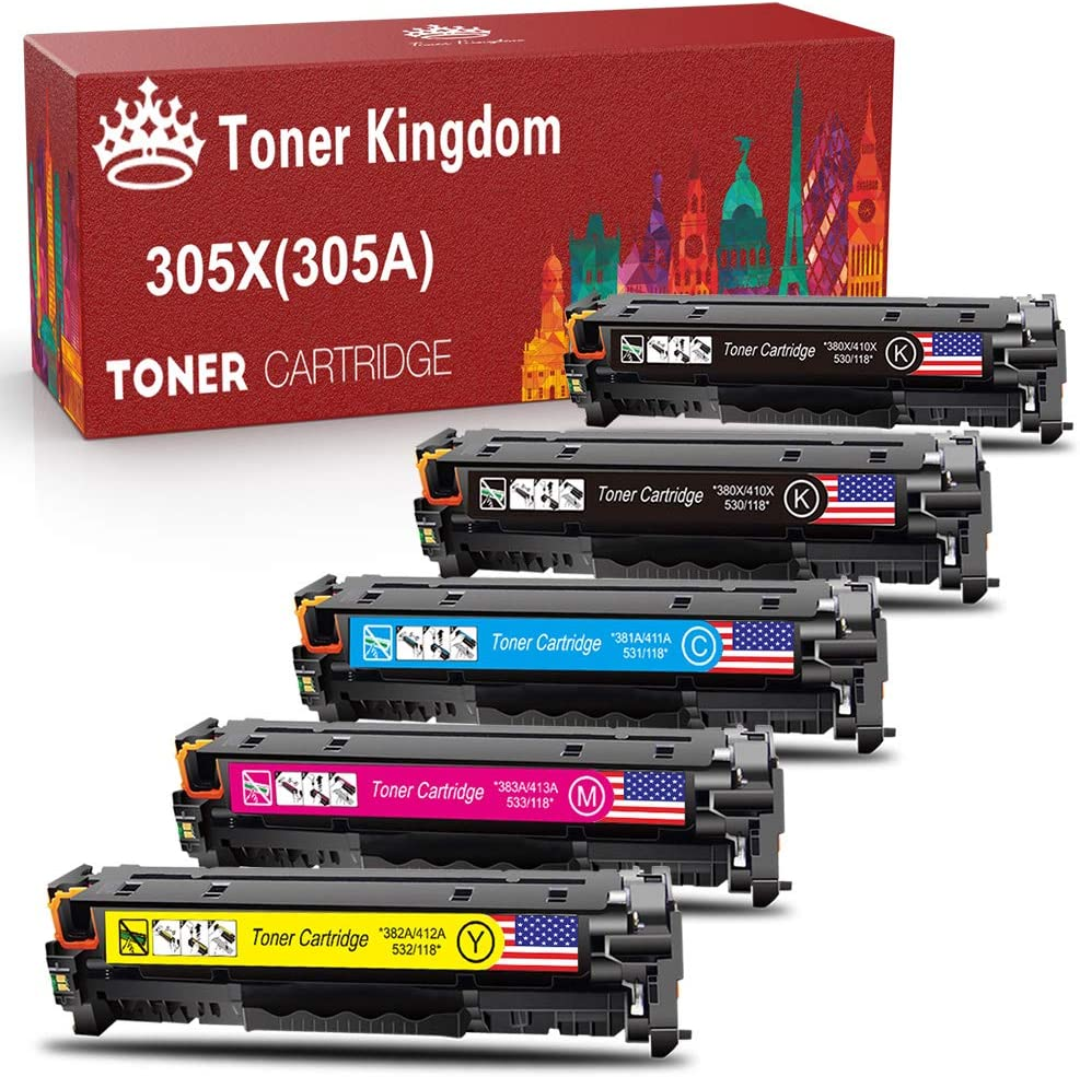 Toner Kingdom Remanufactured Toner Cartridge Replacement for HP 305X 305A 312A 312X for HP Laserjet Pro 400 Color M451dn M451dw M451nw MFP M475dn M475dw M351A M375nw M476dw Series Printer (5 Pack)
