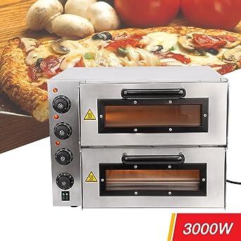 iglobalbuy eléctrico 3000 W 16 Double Deck pizzöfen Convection Pizza de fabricante de máquina Snack