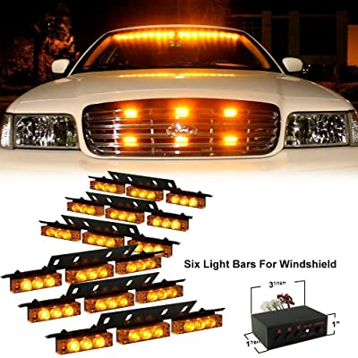 DIYAH 54 LED High Intensity LED Light Bar Law Enforcement Emergency Hazard Warning Strobe Lights For Interior Dash Windshield (Amber): Automotive