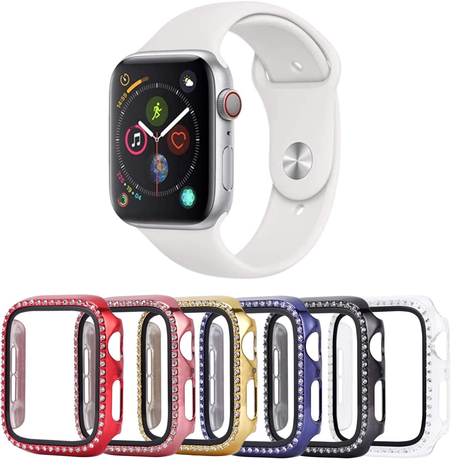 Tranesca 6 Pack 40mm Bling Case with Built-in Tempered Glass Screen Protector Compatible with Apple Watch Series 4/5/6/SE (Red,Rose Gold,Gold,Blue,Black,Clear)