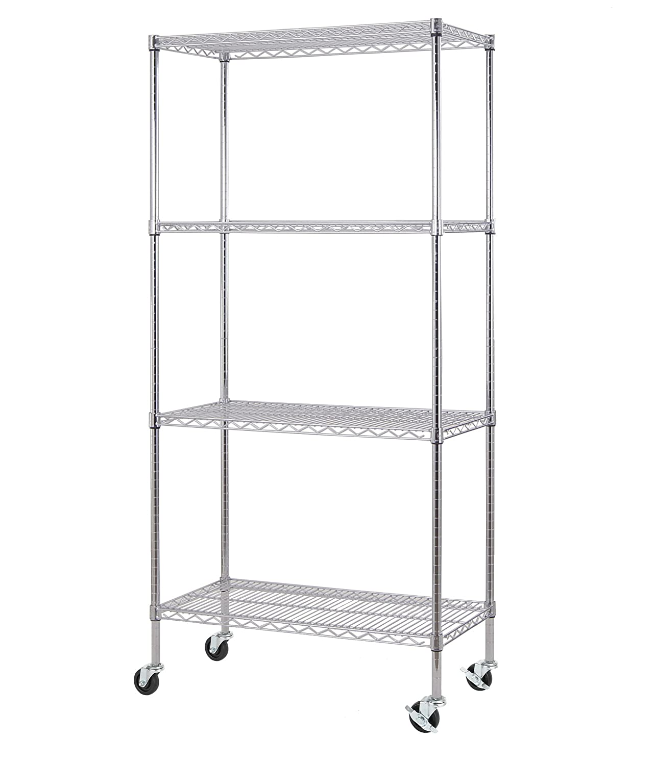 Excel NSF Multi-Purpose 4-Tier Wire Shelving Unit with Casters, 36 in. x 18 in. x 77 in., Chrome