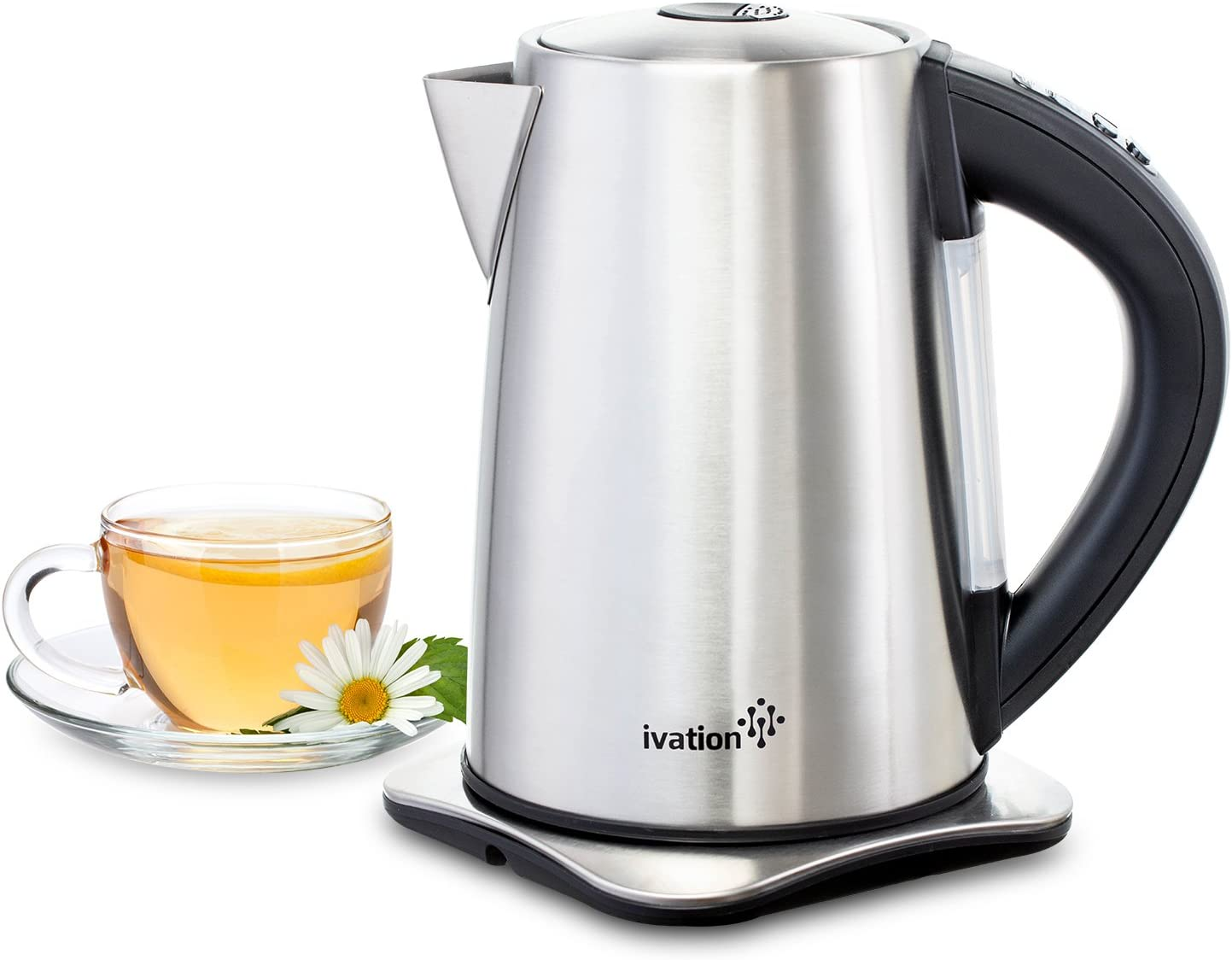Ivation Precision-Temperature Electric Hot Water Tea Kettle Pot 1.7 Liter 7-Cup , 1500 Watt, Stainless Steel Cordless, 6 Preset Variable Heat Settings for Tea, Coffee or Baby Formula