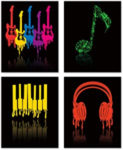 Colorful Music Wall Art Print- Music Vide or Classroom Decor- Guitar Headphones Piano Keys Musical Notes Canvas Print (Set of 4)-Unframed-8X10 inch
