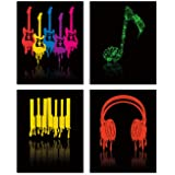 Colorful Music Wall Art Print- Music Vide or Classroom Decor- Guitar Headphones Piano Keys Musical Notes Canvas Print…