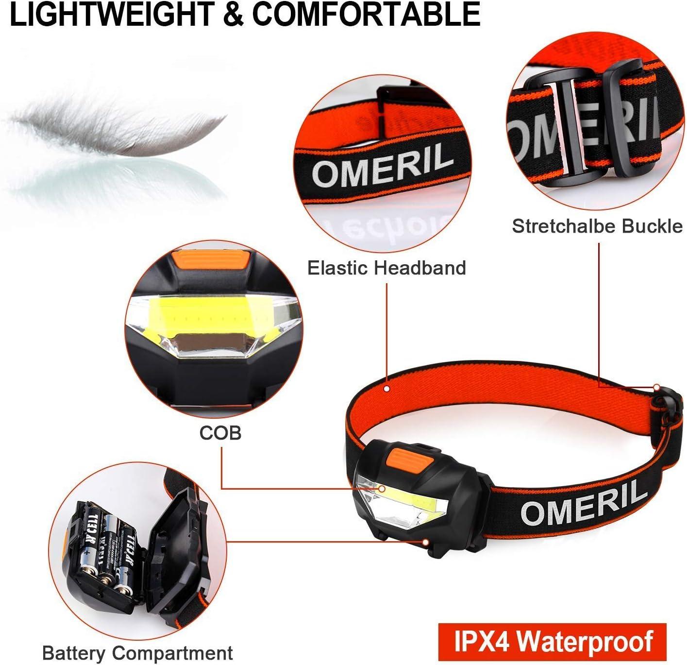 Linterna Frontal LED OMERIL Linterna Cabeza (3 Pilas AAA Incluidas ...