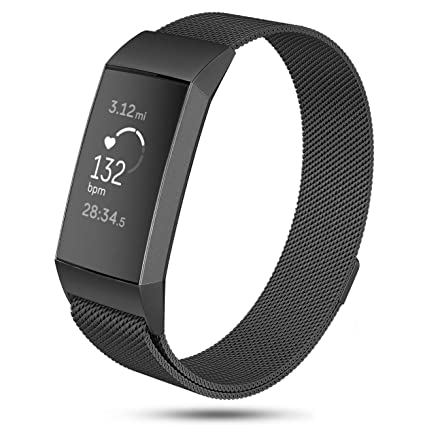 DEKER Milanese Bands Compatible for Fitbit Charge 3 and Charge 3 SE  Advanced Fitness Tracker, Stainless Steel Metal Replacement Accessories  Strap
