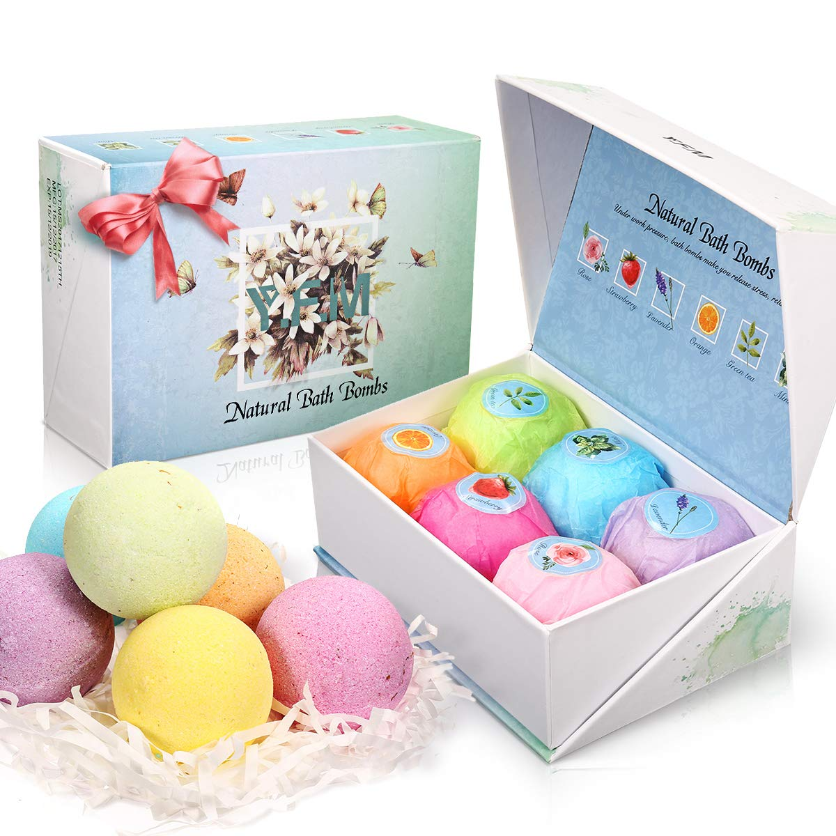 Bath Bomb Gift Set for Thanksgiving, New Formula Y.F.M 6 Pcs Handmade Spa Fizzing Bath Bombs with Gift Pack for Moisturizing Dry Skin Relaxation, Great Gift for Relatives, Friends, Colleagues and Lover Y.F.M.