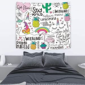 SHINICHISTAR 60X51In Unicorn Tapestry for Kids Teens Girls Graffiti Flamingo Cartoon Drawing Home Decorations Tropical Pineapple Art Design Rainbow Cake Letters Wall Hanging Living Room Bedroom Idea