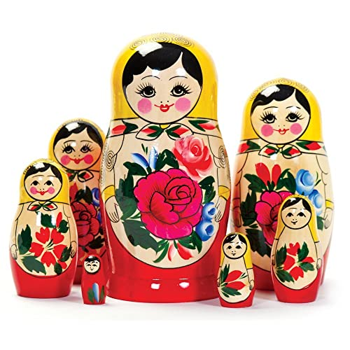 Russian Flowers Butterfly Painted Stacking Doll Matryoshka Nesting Doll 7pcs
