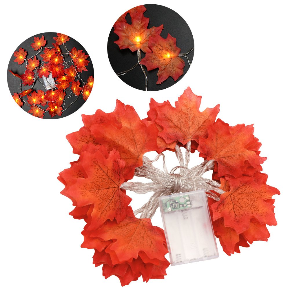 PartyTalk Autumn Maple Leaf Garland String Lights Battery Powered, Lighted Fall Garland Leaves Fall Thanksgiving Halloween Home Decorations, 10 Feet 30 LED