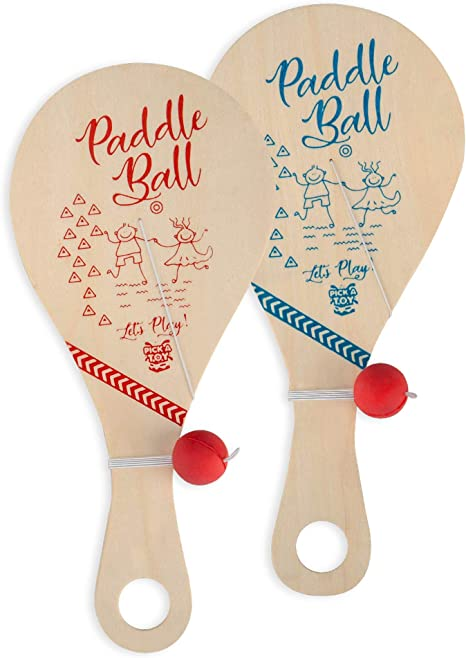 Goodie Bag Fillers 11 Inch Wood Paddleball with String Great Party Favors ArtCreativity Wooden Paddle Balls Pack of 2 Fun Activity Toys for Kids