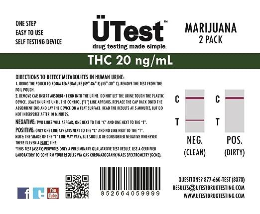 ÜTest Highly Sensitive Instant THC 20 ng/mL Marijuana Single Panel Home  Drug Test (2 pack)LOW